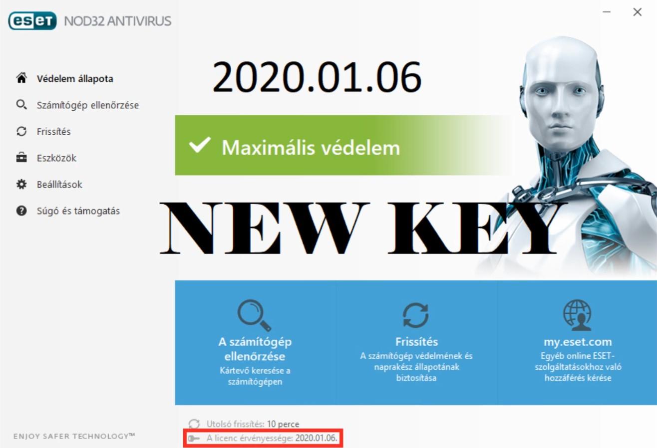 مفتاح أو سيريال ESET NOD32 Antivirus 10 SERIAL جديد يعمل حتى عام 2020