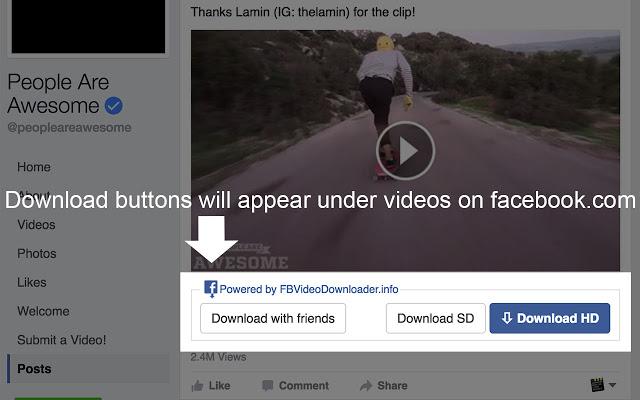 أفضل إضافة Extension لمتصفح Google chrome كروم لتحميل مقاطع الفيديو من فيس بوك.