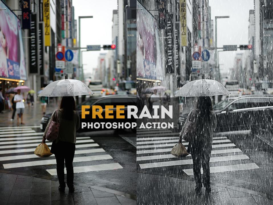 اكشن اضافة تأثير المطر على الصور في الفوتوشوب