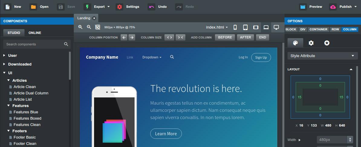 تحميل برنامج Bootstrap Studio 4.1.2 لتصميم مواقع الانترنت بكل سهولة
